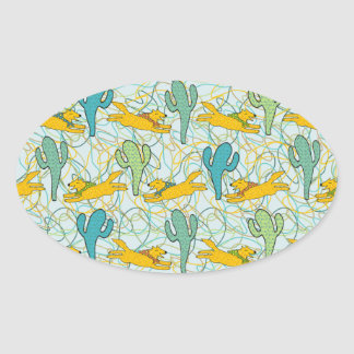 Coyotes with Cacti on Teal with Organic Shapes Oval Sticker