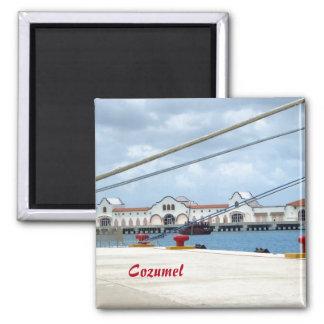 Cozumel Dockside 2 Inch Square Magnet