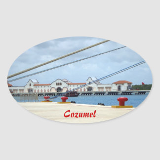Cozumel Dockside Oval Sticker