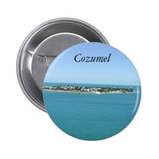 Cozumel Island Blue Water Tropical Pinback Button