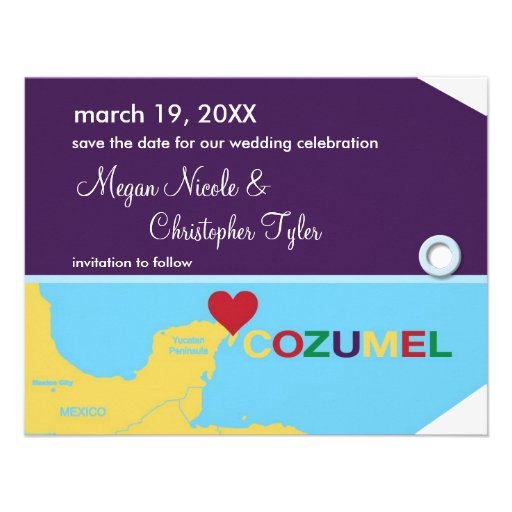 Cozumel Luggage Tag Save the Date Announcement