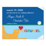 "Cozumel Luggage Tag Save the Date Announcement 4.25"" X 5.5"" Invitation Card"