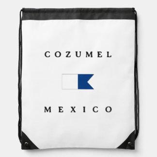 Cozumel Mexico Alpha Dive Flag Drawstring Bag