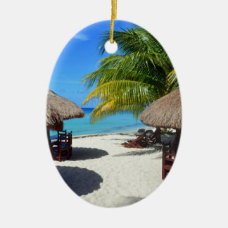 Cozumel Mexico Beach Hut Palm Tree Teal Water Vaca Ceramic Ornament
