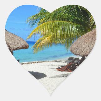 Cozumel Mexico Beach Hut Palm Tree Teal Water Vaca Heart Sticker