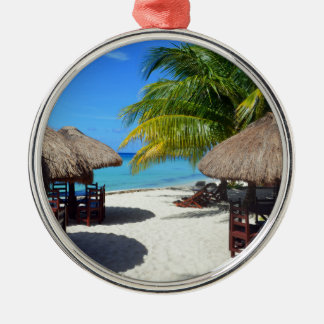 Cozumel Mexico Beach Hut Palm Tree Teal Water Vaca Metal Ornament
