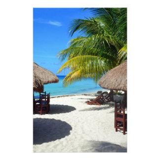 Cozumel Mexico Beach Hut Palm Tree Teal Water Vaca Stationery