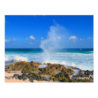 Cozumel Mexico Beach Wave Splash Water Spout Teal Postcard
