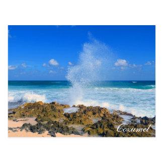 Cozumel Mexico Beach Wave Splash Water Spout Teal Postcard