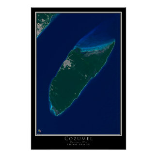 Cozumel Mexico From Space Satellite Art Poster