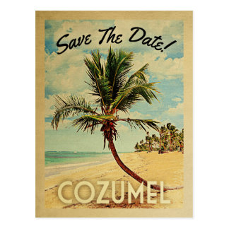Cozumel Save The Date Vintage Beach Palm Tree Postcard
