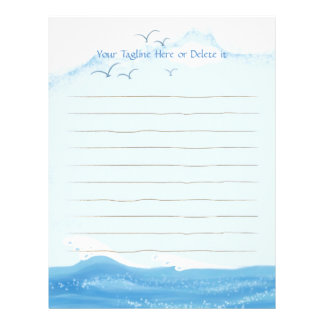 Cozy and Chic Ocean with Flying Seagulls Letterhead