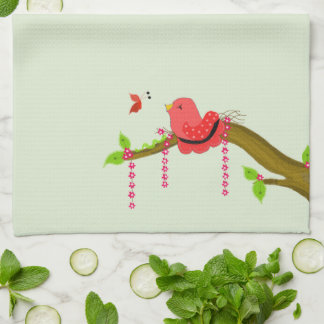 Cozy Bird Chirping At A Butterfly Kitchen Towels