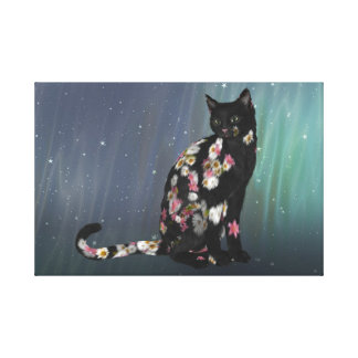 Cozy Black Daisy Cat Canvas Print