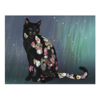 Cozy Black Daisy Cat Postcard