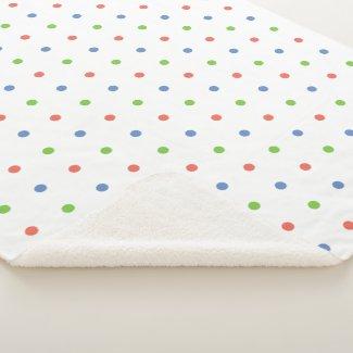 Cozy Blue Coral Green Polka Dot Pattern Sherpa Blanket