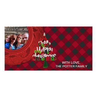 Cozy Buffalo Plaid Black Red Holiday Photo Card