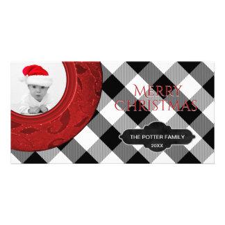 Cozy Buffalo Plaid Black White Red | Holiday Photo Card