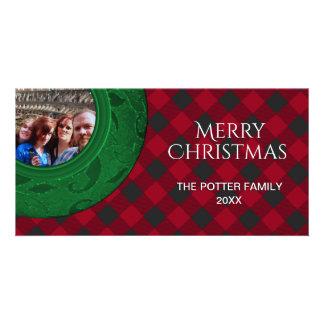 Cozy Buffalo Plaid Bright Red Holiday Photo Card