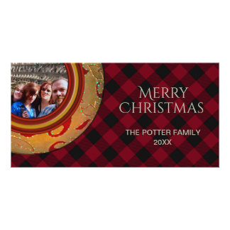 Cozy Buffalo Plaid Gold Red | Holiday Photo Card