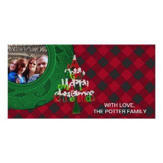 Cozy Buffalo Plaid Green Bright Red Christmas Card