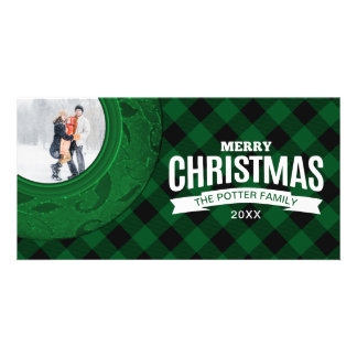 Cozy Buffalo Plaid Green Custom Holiday Photo Card