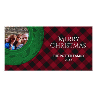 Cozy Buffalo Plaid Green Red Holiday Photo Card