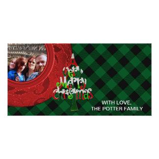 Cozy Buffalo Plaid Green Red Very Merry Christmas Card