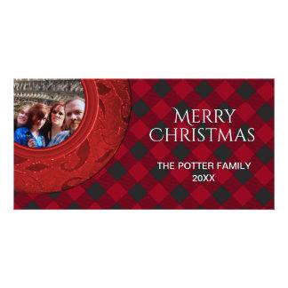 Cozy Buffalo Plaid Red Black Holiday Photo Card