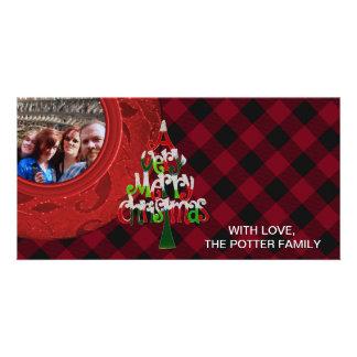 Cozy Buffalo Plaid Red Black Merry Christmas Card