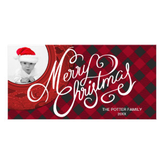 Cozy Buffalo Plaid Red Black Merry Christmas Photo Card