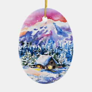 Cozy Cabin Ceramic Ornament