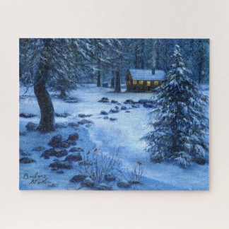 """""""Cozy Cabin in the Snow""""Jigsaw Puzzle"""