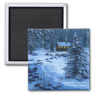 """""""Cozy Cabin in the Snow"""" Magnets"""