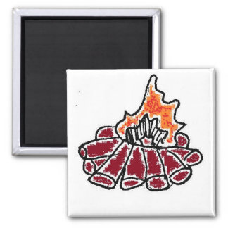 Cozy Campfire Cartoon 2 Inch Square Magnet