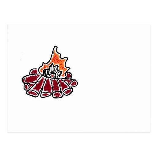 Cozy Campfire Cartoon Postcard