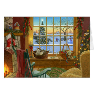 Cozy cat Christmas Card