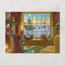Cozy cat Christmas Holiday Postcard