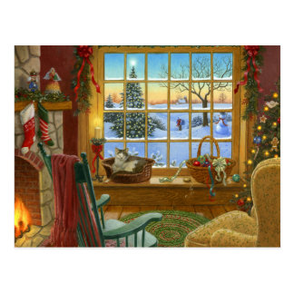 Cozy cat Christmas Postcard