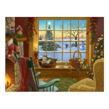 Christmas Themed Cozy cat Christmas Postcard