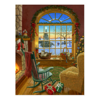 Cozy cat Christmas Post Cards