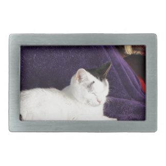 Cozy Cat Kitty Napping Happy Rectangular Belt Buckle
