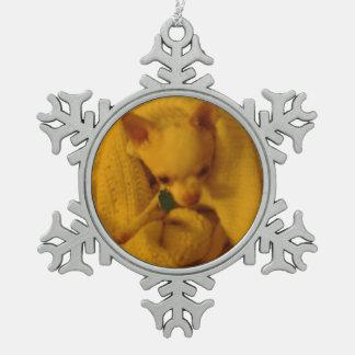 Cozy Chihuahua Pewter Snowflake Ornament