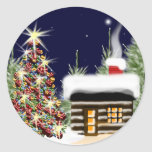 Cozy Christmas Cabin Classic Round Sticker