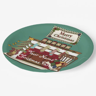 Cozy Christmas Fireplace Winter Paper Plates