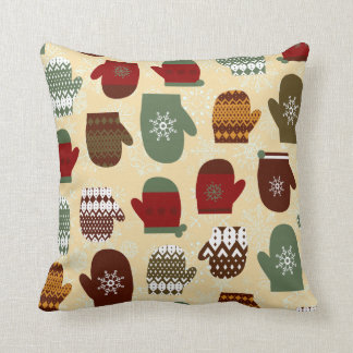 Cozy Christmas Holiday Winter Mittens Throw Pillow