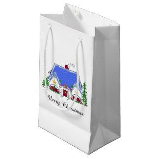 Cozy Christmas House Small Gift Bag