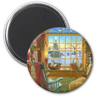 Cozy Christmas Living Room 2 Inch Round Magnet