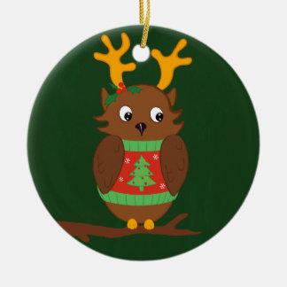 Cozy Christmas Owl Ceramic Ornament