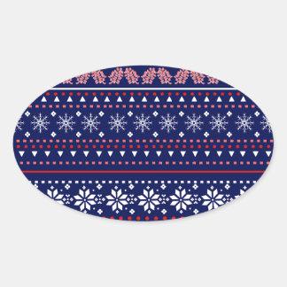 Cozy christmas pattern oval sticker